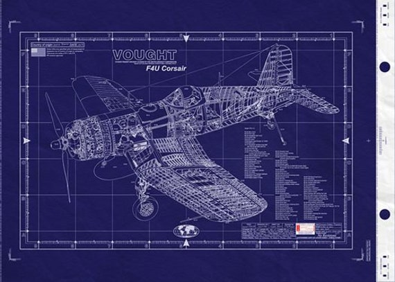 Vought f4u corsair blueprint large engineering drawing wwii like this item malvernweather Images