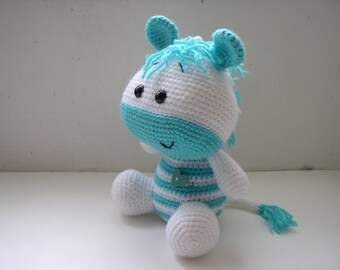little plush amigurumi turquoise and white Zebra