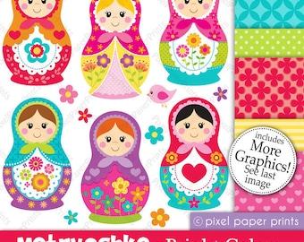 Matryoshka clipart - Nesting doll - Clip art and Digital paper set - Matryoshka