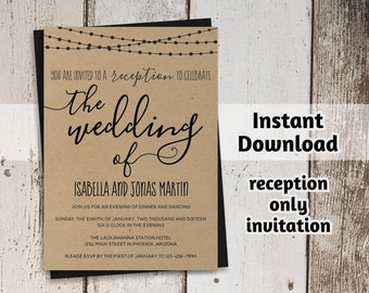 Reception Only Invitation Template   Rustic Printable Wedding Reception  Invitation   Instant Download Digital File