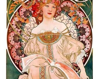Mucha Art Print, F Champenois Imprimeur Print, Home Decor Art Nouveau, Flower Art Print