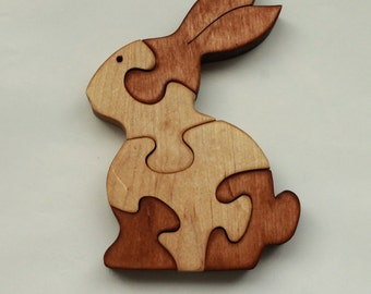 Wooden hare. Rabbit. Wooden Puzzles. Wood Puzzle. Animal Puzzle Zoo Animal Kids Puzzle Wooden Toy Wood Toy Baby Puzzle Baby Shower Gift