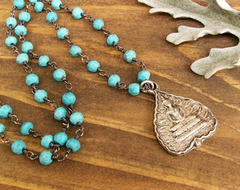 Silver Buddha on Turquoise Beaded Chain, Lotus Pendant Necklace, Gemstone & Sterling Jewelry, Spiritual Yoga Gift for Her, Layering Necklace