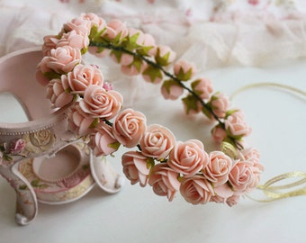 peach pink roses flower hair wreath flower crown wedding accessories Bridal Floral hair wreath Flower girl halo