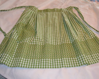 Green Gingham Checked Apron