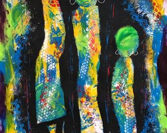 Walk with me - ooak - 20 x 16ins (50 x 40cms) We walk far when we don't walk alone