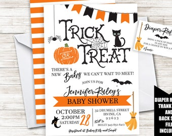 Halloween baby shower invitation etsy halloween baby shower invite invitation 5x7 digital sprinkle boy girl neutral spooky trick or treat filmwisefo Image collections