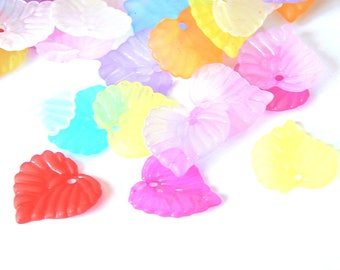 20 mixed color frosted acrylic leaf shape charms 15x14mm