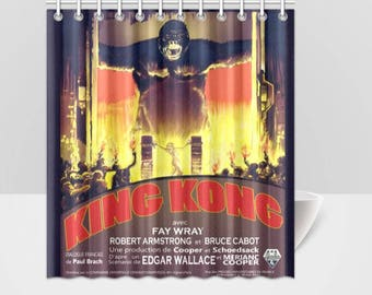 Shower Curtain Vintage King Kong Horror Movie Poster Shower Curtain