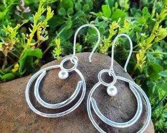 Cosmic Lunar Sterling Silver Dangle Earrings
