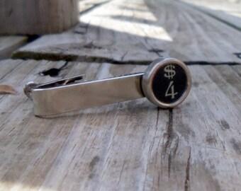 Number 4 Vintage Typewriter Key Tie Bar