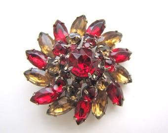 Vintage Juliana Brooch Red Amber Dome Brooch from AllieEtCie