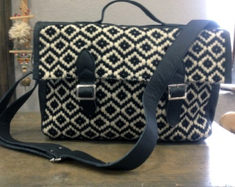 Ladies Leather Laptop Bag. Black Leather Shoulder Bag. Black & White Handwoven Handbag. Leather Bag with Zipper. Mother's Day Gift. Art Bag.
