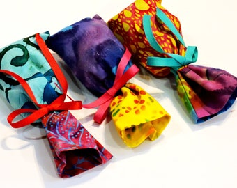 Fabric Gift Bags, Colorful Batik Reusable Gift Wrap Cloth Pouches, Ditty Bags, Treat Bags, Purse Organizer set of 3 itsyourcountry