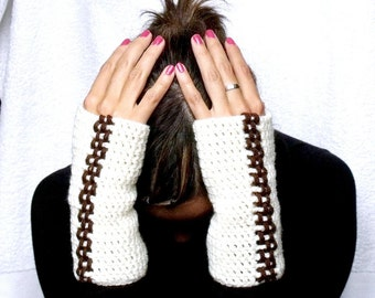 Beige Fingerless Gloves PDF Crochet Pattern