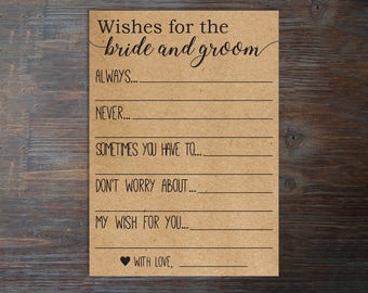 Wishes for the Bride and Groom . Advice for the Bride and Groom Cards . Wishes for the Bride and Groom Cards . Printable . Instant Download