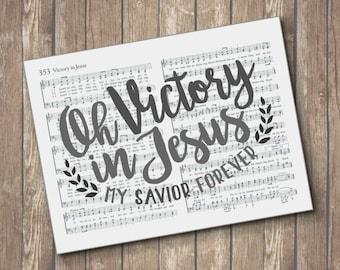 Victory in Jesus Hymn Print