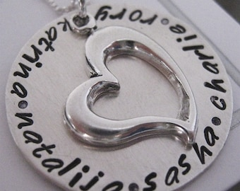 Grandmother's Love hand stamped necklace - customized necklace