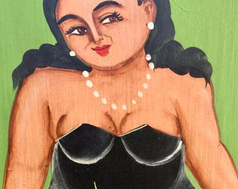 "Kitchy Painting of a Botero ""type"" gal in a bathing suit."