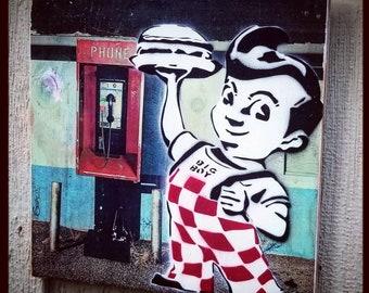 Bobs Big Boy Mixed Media Graffiti Art Painting on Photo Transfer Original Art on Handmade Canvas Home Decor Vintage Kitchen