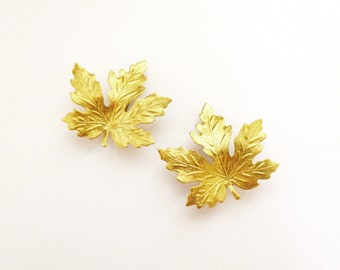 Gold Maple Leaf Barrettes Bridal Hair Clips Bride Bridesmaid Nature Botanical Leaves Garden Autumn Fall Rustic Woodland Wedding Accessories