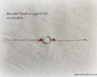 """""""Round"""" bracelet 925 sterling silver and carnelian"""