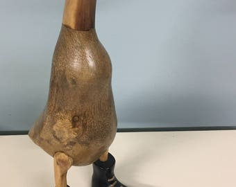 Large Handmade Wooden Duck with Boots
