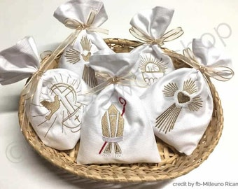 Package 6 religious embroideries for Confirmation / Communion bags - Machine embroidery ITH