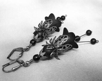 Black Onyx, Black Lucite Flower, Dangle Earrings, Semi Precious Stones, Gunmetal Filigree Petals, Gothic Victorian, Romantic Jewelry, Witchy