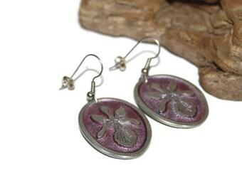 Vintage Orchid Earrings, Aluminum Earrings, Lightweight Earrings, Silver and Purple Floral Earrings, Flower Earrings, Flower Jewelry
