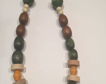CHUNKY Wood Boho Multicolored Necklace and Earring Set