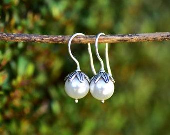 Pearl Earring Freshwater Pearl Earring Fresh Water Pearl Silver Earring Small Pearl Earring White Pearl Drop Earrings Pearl Dangle Earring