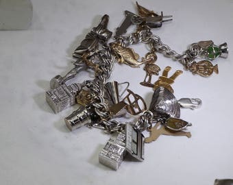 Vintage 23 Sterling Silver Charms and Sterling Charm Bracelet