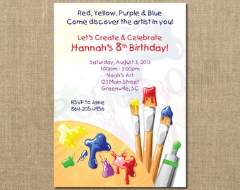 Painting ART Party Birthday Invitation - Craft Party - Paint Party - Crayola Party - Children - Digital File