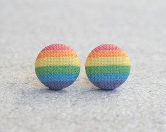 Rainbow Fabric Button Earrings