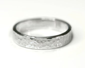 Hammered silver ring, silver stacking ring, textured ring, wedding band, Sterling silver, 4mm wide ring