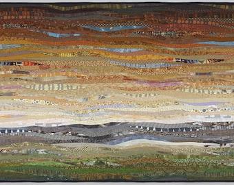 Quilted landscape. Modern art quilt. 35x56 in. Contemporary textile art. Modern home decor. Southwestern art. Original wall art. Fiber art.