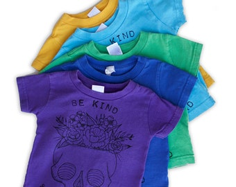 Be Kind & Stay Weird on upcycled baby Tees