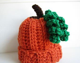 Pumpkin baby hat, fall hat, baby photo prop. autumn hat, crochet hat, baby beanie, pumpkin beanie