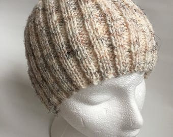 Mens beanie hat hand knitted hat