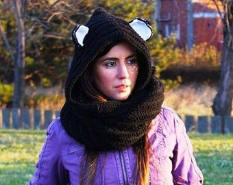 Black Scoofie - Crocheted Hooded Scarf - Vegan Friendly Acrylic Yarn, Adult size,Scarf