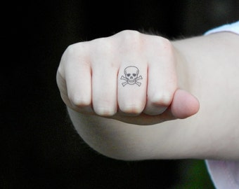 Skull Tattoo - Skull and Crossbones Temporary Tattoo - Small Wrist / Hand / Knuckle Tattoo - Set of 2
