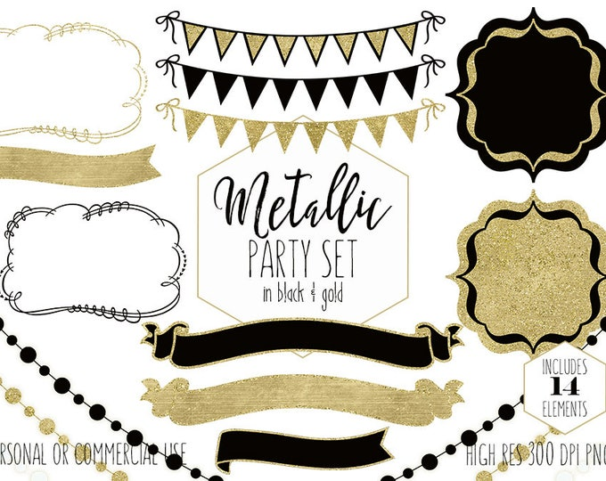 BLACK & GOLD METALLIC Clipart for Commercial Use Clip Art Bunting Banner Frames Fairy Light Strand Party Wedding Invitation Digital Graphics