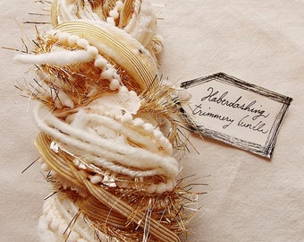 Buttercream ivory pinstriped ribbon gold tinsel bisque flag garland Novelty Fiber Yarn Sampler Bundle
