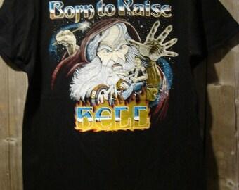 Vintage Born to Raise Hell Iron On T-Shirt Biker Fantasy Art