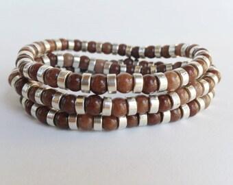 Bohemian Beaded bracelets - stone beads - brown bracelet - brown jewelry - stretch bracelet - layering bracelets - boho chic bead bracelets