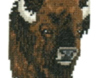 Bison counted cross-stitch chart