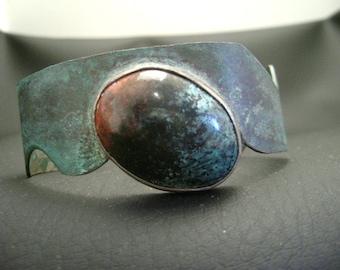 Shibuichi Cuff Bracelet with Sonora Sunset Stone