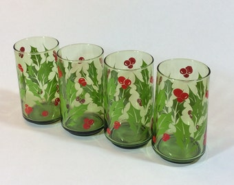 Vintage Christmas Tall Drinking Glasses, Classic Holly Red Berries Green Christmas Holiday Glasses Set of Four