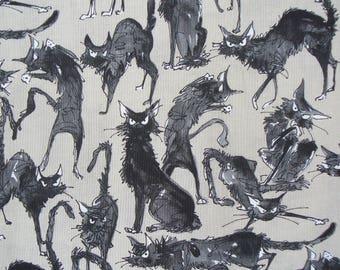 Sebastian Ghastlie,  Fat Quarter, Alexander Henry, Just Ghastlie, Taupe Background, The Ghastlies, Cotton Fabric, Goth Fabric